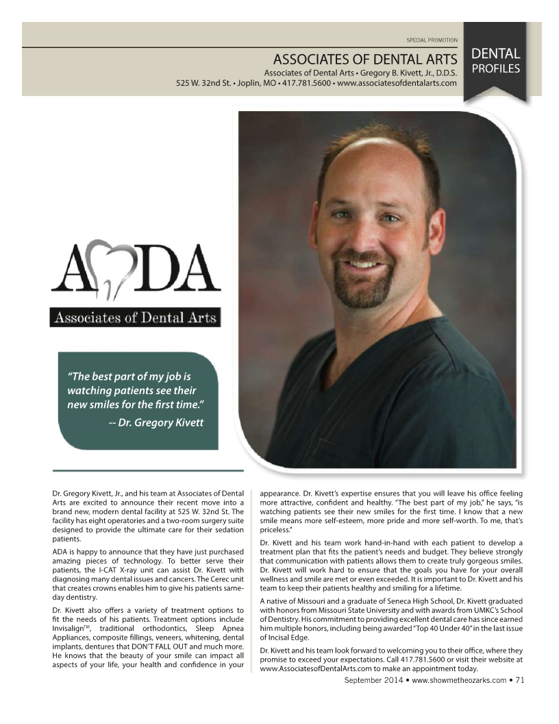 Picture of Dr. Kivett of Associates of Dental Arts and article on his love of dentistry in Joplin.
