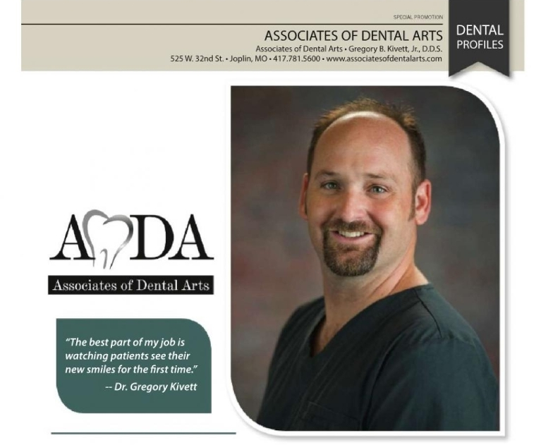 Picture of Dr. Kivett of Joplin and an article on his love of dentistry and giving people new smiles